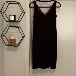 Dark red velvet dress